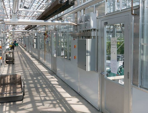 Looking down the hallway at one of Cornell's greenhouses